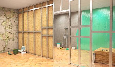 Renovation of walls, making partition, 3d illustration Zdjęcie Seryjne