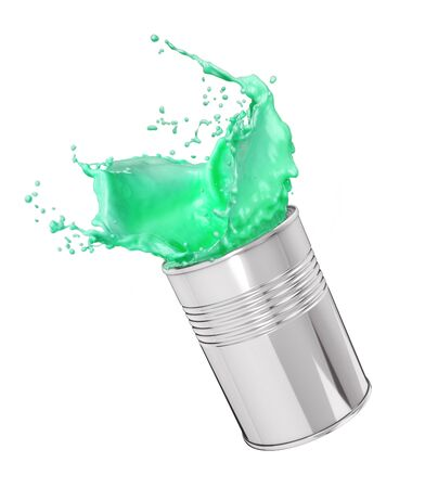 splash of paint in a can on a white background