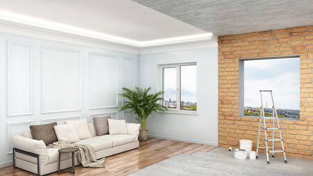 Interior design renovation in process, 3d illustration