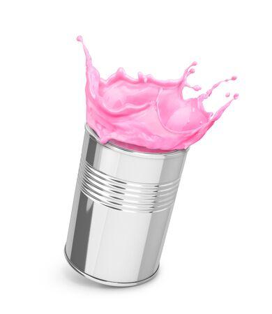 splash of pink paint in a can Zdjęcie Seryjne