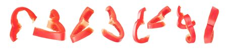Sliced red bell pepper isolated on a white background Zdjęcie Seryjne