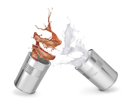 White and brown paint splashing out of an iron can