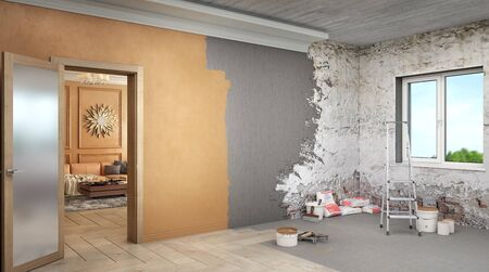 One room is  already renovated and the second room is in process of renovation, 3d illustration Stock fotó