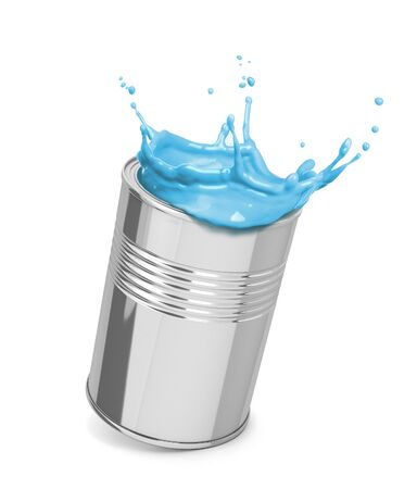 blue paint splashing out of an iron can