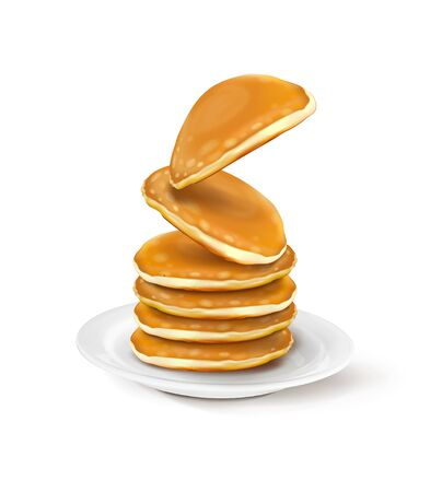 vector illustration of a plate with pancakes