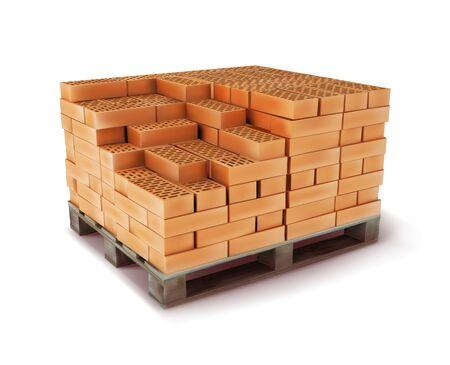 Block of bricks on a wooden pallet. Construction material. Vector illustration.