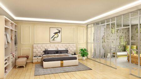 Bedroom interior renewal by making partition, 3d illustration Stock fotó
