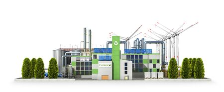 Modern green eco-plant with green trees. Solar panels and wind turbines in the background. 3D illustration 스톡 콘텐츠