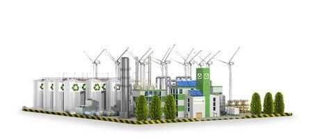 fábrica ecológica. Ilustración 3D