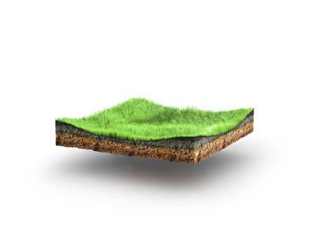grasbewachsener Abschnitt mit Querschnitt der Bodengeologie, 3D-Darstellung
