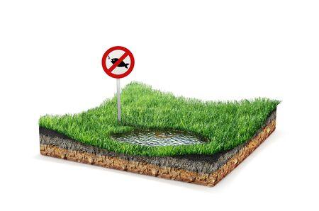 Isle. Sign ban fishing, lake. 3d illustration 版權商用圖片