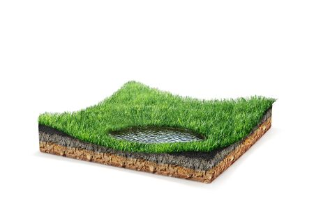 slice of soil, green meadow with a lake isolated on a white background. 3d illustration