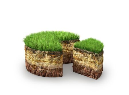 piece of land in the form of a cake isolated on a white background. 3d illustration Stock Photo
