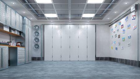 Modern garage interior with sectional gate. 3d illustration