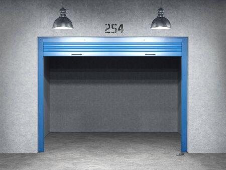 open storage door in empty storage, 3d illustration, Stock fotó