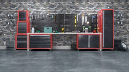 Garage interior with stend of tools. 3d illustration