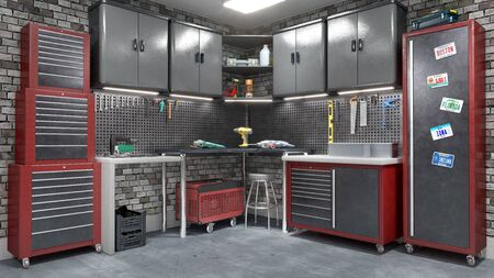 Garage interior with stend of tools. 3d illustration Stock fotó - 133979343