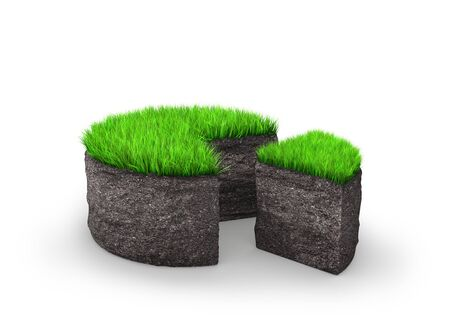 Concept section of a land plot. A piece of land in the form of a cake. 3d illustration Stock Photo