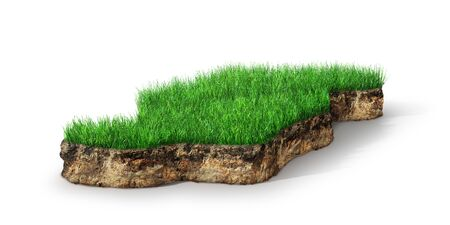 grassy section with cross section of soil geology, 3D illustration Zdjęcie Seryjne - 134314586