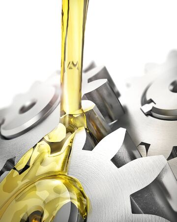 Lubricant. Gears drenched in oil on a white background. 3d illustration Archivio Fotografico