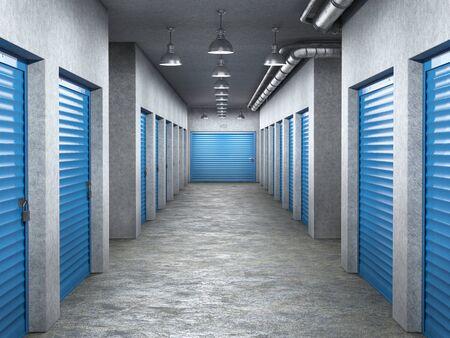 storage hall interior with locked doors 3d illustration