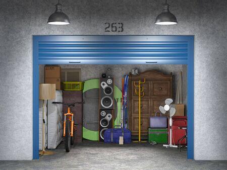 storage with open doors 3d illustration Standard-Bild