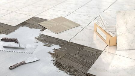 Process of laying marble tiles on floor, 3d illustration