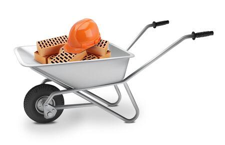 Wheelbarrow with bricks and helmets. Vector illustration. Vector Illustratie