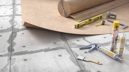 Process of laying linoleum on floor, 3d illustration Stock fotó