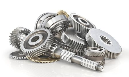 Mechanism. Gears on the shaft isolated on a white background. 3d illustration Stock Photo