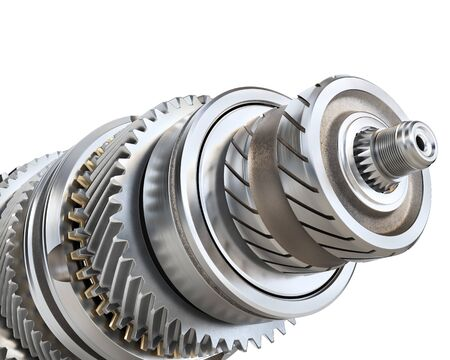 Stack of gears isolated on a white background. 3d illustration Imagens