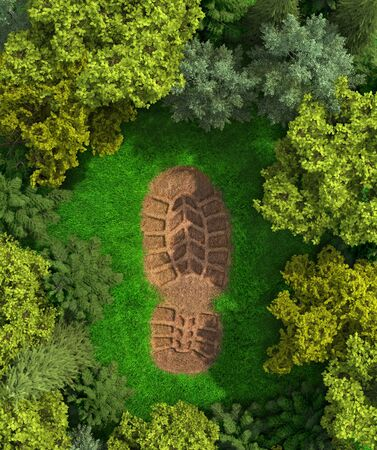 concept of ecology. Imprint of a human footprint in nature. 3d illustration 版權商用圖片