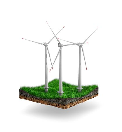 "Concepts of the industrial ""green energy"". Wind turbines on a green island. 3d illustration"