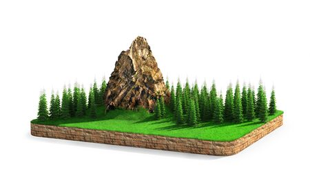 Isle. A piece of land with mountains and conifers. 3d illustration 스톡 콘텐츠