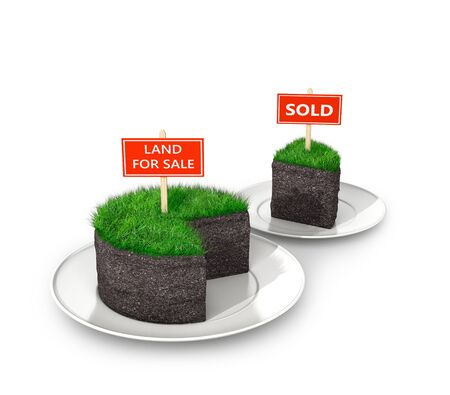 Land plot, sale or lease of land on white