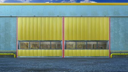 Hangar exterior with sectional gate. 3d illustration