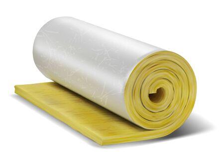 Rouleau de laine isolante sur blanc