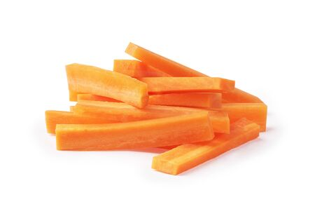 Fresh chopped orange carrots chopsticks on a white background. Stock Photo
