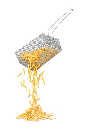 French fries spill out of the basket on a white background