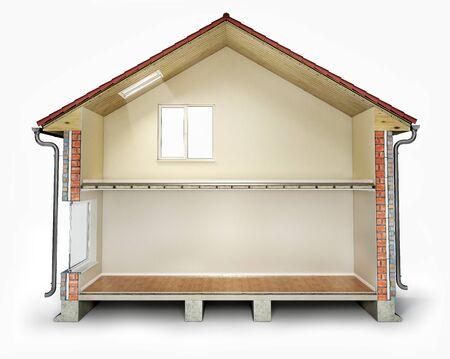 Empty house cross section, 3d illustration