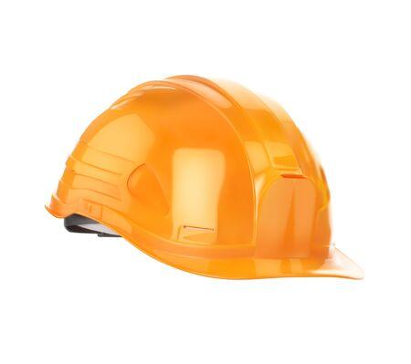 Casco da costruzione arancione. L'illustrazione di vettore è isolata su un fondo bianco.