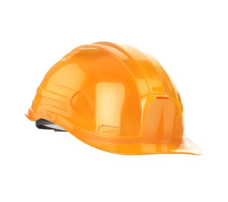 Orange construction helmet. Vector illustration is isolated on a white background.