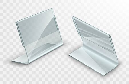 Acrylic table displays set, glass or plastic card holders isolated on transparent background.