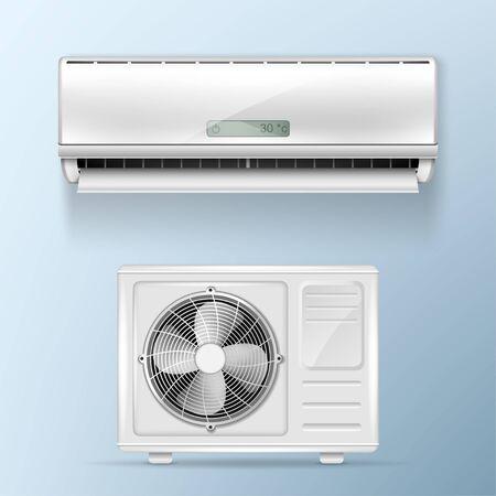Sistema split de aire acondicionado. Unidades exteriores e interiores. Ilustración de vector