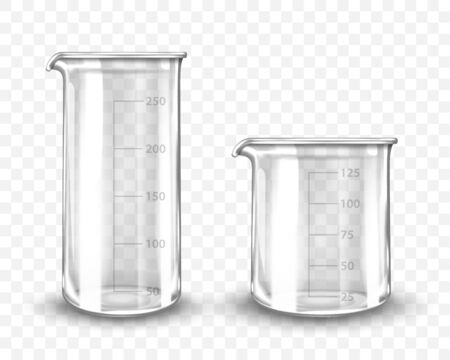 Clean empty laboratory glassware on transparent background. Vector realistic illustration