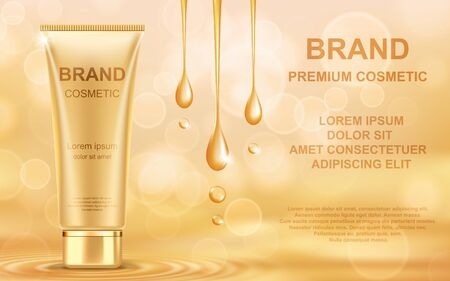 Golden oil cosmetic cream skin care ads. Template realistic vector illustration.