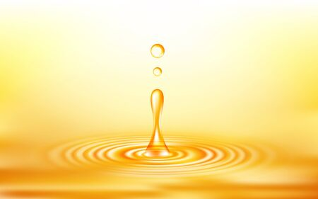 Realistic vector oil drop and circle ripple wave. Abstract background