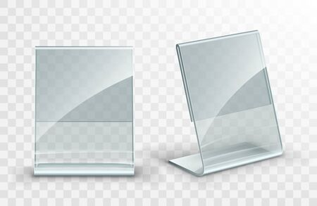 Vector acrylic table tent. Card holder isolated on transparent background. Empty flyer glass display.