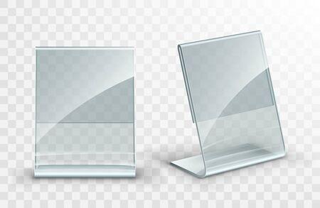 Vektor-Acryl-Tischzelt. Kartenhalter auf transparentem Hintergrund isoliert. Leeres Flyer-Glasdisplay.