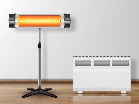 Vector realistic illustration heating devices